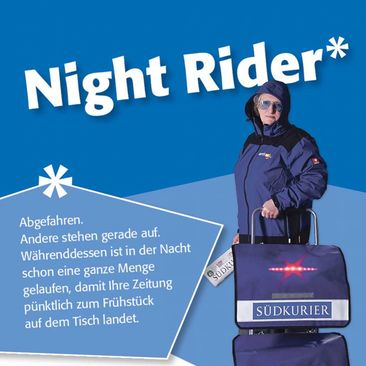 "Zustellerkampagne Flyer ""Night Rider"""